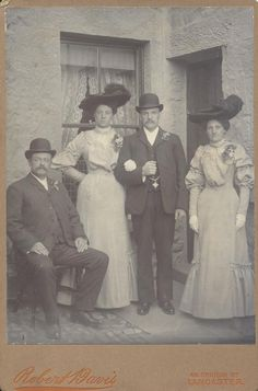 Victorian group photograph, probably of a wedding group with bride & groom. By Robert Davis, 46 Church Street, Lancaster. Circa 1880/1890.