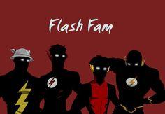 DC's Flash Family left to right: The Original Flash (retired) Jay Garrick, Kid Flash Wally West (Barry's nephew), second Kid Flash Bart Allen 'Impulse' (Barry's future grandson), The current Flash Barry Allen.