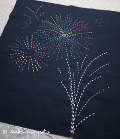 Sashiko Embroidery: Fire flowers