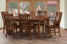 This charming dining set is Amish built, proudly in the USA, and features a beautiful solid rustic cherry wood. Let Derby's breathe new life into your dining space with one of our many solid wood dining sets. www.derbyshires.com