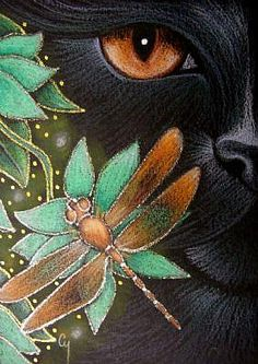 Detail Image for art BLACK CAT KATZE - DRAGONFLY - FLOWERS 2