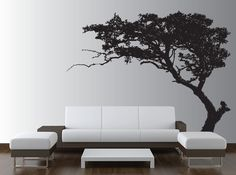 Large Tree Decal over @ Innovative Stencils.  Beautiful way to decorate a large wall without spending too much $$