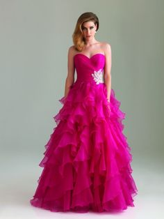 #NightMovesProm 6400 Strapless, ruffled skirt ball gown. This is my dress, ladies and gentlemen... Ugh I love this.