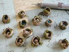 Miniature bird nest - hemp string and Femo dough | Use in my library | My Dollhouse Days