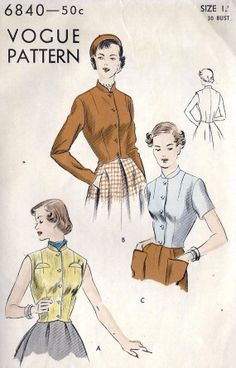 1950s Misses Waistcoat or Jacket. Vogue patterns were notoriously difficult to make. Complications galore, but gorgeous.