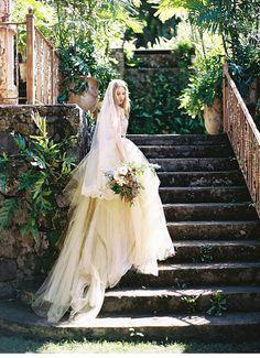 Luscious and romantic bridal inspiration at Haiku Mill on Maui, Hawaii vestidos de ELIZABETH TINTE Colored Wedding Dresses, Boho Wedding Dress, Designer Wedding Dresses, Haiku, Bridal Photoshoot, Bridal Shoot, Bride Portrait, Wedding Photo Inspiration, Bridal Gowns