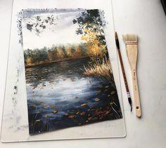 Landscaping Without Flowers Watercolor Landscape, Landscape Art, Watercolor Paintings, Watercolour, Art Du Croquis, Guache, Art Drawings Sketches, Art Sketchbook, Aesthetic Art