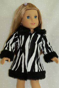 Fur trimmed zebra print jacket - Alright Rebecca (American Girl Doll)