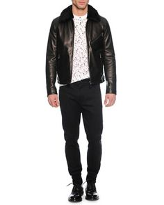 Leather Jacket with Shearling Collar, Small Floral-Print Henley Tee & Woven Jogger Trouser Pants by Dolce & Gabbana at Neiman Marcus.