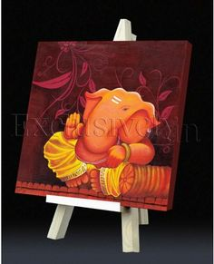 Limited Edition Ganesha Painting in Orange and Maroon