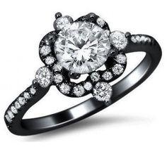 1.07ct Round Diamond Engagement Ring 18k Black Gold Antique Style