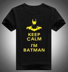 New Fashion Funny Cartoon Batman T Shirts Men Keep Calm I Am Batman Tshirts Short Sleeve Personality Top Tees T-shirts