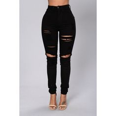 Blanched Jeans Black ($20) ❤ liked on Polyvore featuring jeans, high-waisted skinny jeans, distressed jeans, destructed skinny jeans, skinny jeans and ripped skinny jeans