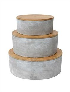 Creative Co-Op Small Round Cement Container with Bamboo Lid by Creative Co-op