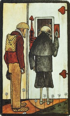 Talonpoika ja kuolema taivaan portilla by Hugo Simberg Art And Illustration, Vintage Artwork, Vanitas, Memento Mori, Dark Art, Les Oeuvres, Art History, Printmaking, Illustrators