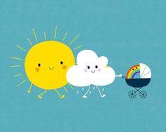 So cute for a baby's room! The weather family Art Print by Jean-Sébastien Deheeger Illustration Mignonne, Funny Illustration, Family Illustration, Landscape Illustration, Art Mignon, Cute Puns, Humor Grafico, Rainbow Baby, Rainbow Family