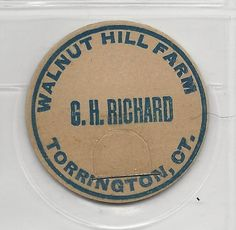 G H Richard Walnut Hill Farm Milk Cap TORRINGTON Connecticut | eBay.  Gad Henry Richard.