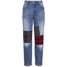 Boyfriend jeans with checked patch ($71) ❤ liked on Polyvore featuring jeans, pants, frontrowshop, checkered jeans, relaxed fit jeans, patching blue jeans, patched jeans and boyfriend jeans
