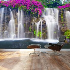 Lush Waterfall and flowers- Wall Mural, Removable Sticker, Home Decor - 66x96