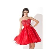 Red A Line Sweetheart Knee Length Princess Organza Homecoming Dress... ($129) via Polyvore featuring dresses, beaded homecoming dresses, red sweetheart dress, red ruffle dress, beaded dress and sweetheart dress