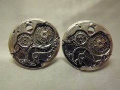 Mens Cufflinks Steampunk Watch Gears Choice of Color by AGothShop, $15.00