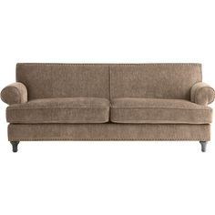 Pier 1 Imports Tan Carmen Sofa ($800) ❤ liked on Polyvore featuring home, furniture, sofas, sofa, light brown couch, nailhead couch, woods furniture, light brown sofa and pier 1 imports furniture