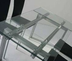 Table de salle à manger design en verre MIRANDA, avec rallonges et piètement en acier satiné brossé