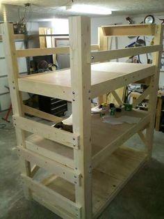 Homemade Bunk Beds | This is the Triple Bunk Bed I built just before we finished ...