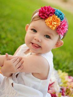 Satin Flower-Flower Girl-Cluster Satin Flower Flower Headband-Satin Flower Headband-Turquoise Yellow Bubblegum & Hot Pink Flower Headband by LosBowtique on Etsy https://www.etsy.com/listing/192939101/satin-flower-flower-girl-cluster-satin