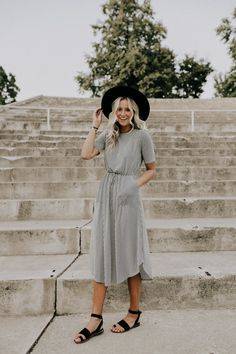 Black + White Stripe Dress with Pockets | ROOLEE