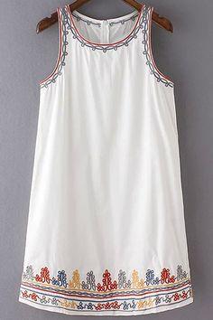 Embroidery Round Collar Sleeveless Summer Dress
