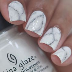 "White marble nails using China Glaze-""White On White"" and OPI-""Steel Waters Run…"