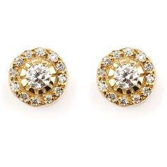 Ileana Makri 'Solitaire' diamond earrings ($2,770) ❤ liked on Polyvore featuring jewelry, earrings, brinco, metallic, fine jewelry, diamond jewellery, pave diamond earrings, diamond jewelry and fine jewellery