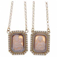 b00593143452 Collar Escapulario plata 925 dorada Medallas Octagonales Circones Blancos y  Camafeos