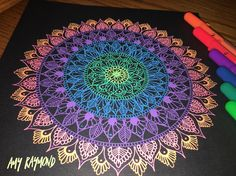 Mandala by Amy Raymond Tangle Patterns, Mandala Pattern, Mandala Design, Mandala Artwork, Mandala Painting, Zen Doodle, Doodle Art, Gel Pen Art, Mandala Sketch