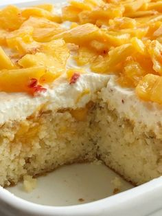 Peaches and cream poke cake! French vanilla cake soaked in fresh peaches, light and fluffy cream cheese whipped topping, topped with fresh peaches. Peach Cake Recipes, Box Cake Recipes, Dessert Recipes, Icing Recipes, Poke Cakes, Cupcake Cakes, Cupcakes, Layer Cakes, French Vanilla Cake