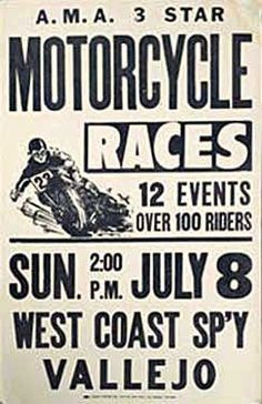 West Coast Speedway, Vallejo Motorcycle Races Ad Fine Art Print