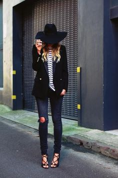 black blazer, stripe shirt, ripped skinny jeans, sexy strappy heels and brimmed hat