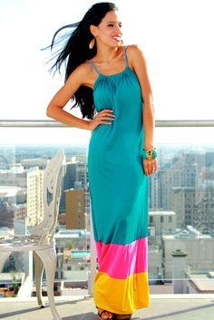 wholesale color block jersey long maxi dress