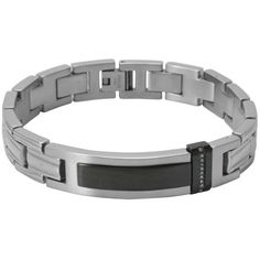 #Bracelet - #LoveandPride Stainless Steel Black and White ID Bracelet with Diamond Accents