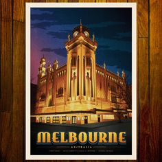 Harper and Charlie's print of The Forum Theatre Melbourne is an illuminated at night illustration of the 1929 Forum Theatre in Melbourne. The blue key line around the word Melbourne in the design was inspired by the theatres beautiful illuminated, ultramarine blue ceilings that mimic the night sky. Melbourne Architecture, Melbourne Art, Vintage Prints, Vintage Posters, Night Illustration, Blue Ceilings, Girl Sign, Art Deco Pattern, All Poster