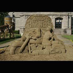 OH Bike Week logo sand sculpture -------- 2015 Ohio Bike Week Dates are May 29 to June 7  1/3 OFF VIP Tickets …www.ohiobikeweek.com/event-tickets.php  **More PICTURES at blog.lightningcustoms.com/oh-bike-week/  #ohiobikeweek #ohiobikeweekdiscount #ohbikeweek #bikeweekohio