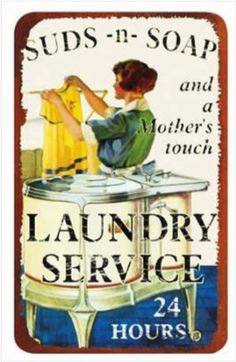 Vintage Suds-n-Soap Laundry Sign | NEVER Run a Washer Cleaning Cycle Again!!! | Permanently Eliminate or Prevent Washer Odor with Washer Fan™ Breeze™ | WasherFan.com | Installs in Seconds... No Tools Required! #WasherOdor#SWS #Laundry