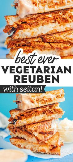 Need some new vegetarian sandwich inspiration? Dive into this vegetarian Seitan Reuben Sandwich, complete with Swiss cheese, thousand islands dressing, and sauerkraut! It's a flavor packed healthy lunch idea that's easy to make (and perfect for St. Patrick's Day!). #vegetarian #sandwich #reuben #stpatricksday Vegetarian Sandwich Recipes, Vegetarian Lunch, Healthy Eating Recipes, Veggie Recipes For Lunch, Healthy Food, Vegetarian Casserole, Dinner Recipes, Vegetarian Side Dishes, Healthy Vegetable Recipes