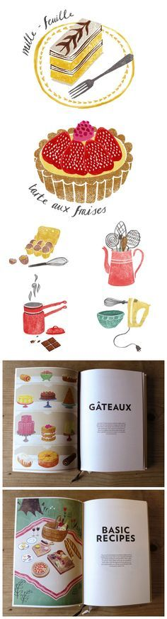 Illustrations for 'The Art of French Baking' by Sara Mulvanny  Interessante o estilo das ilustrações