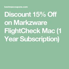 Discount 15% Off on Markzware FlightCheck Mac (1 Year Subscription)