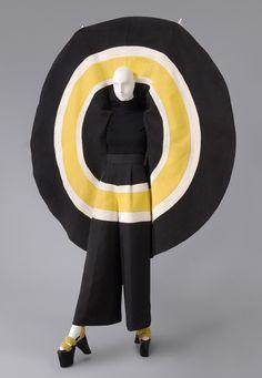 Ensemble, Cotton plain weave; lacquered wood, synthetic velvet, Kansai Yamamoto, 1973