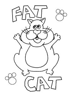 Fat Cat Free Coloring Pages for Kids - Printable Colouring Sheets