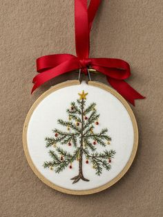 Embroidered Christmas Tree ornament framed in a 3-inch hoop. Tree is 2.75-inches tall.