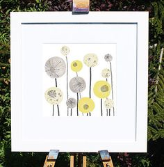 Yellow And Grey Seed Heads Art Print
